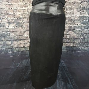 Cedars Vintage Black Suede/Leather Skirt, Size 14